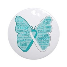 Butterfly Cervical Cancer Ornament (Round)