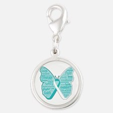 Butterfly Cervical Cancer Silver Round Charm