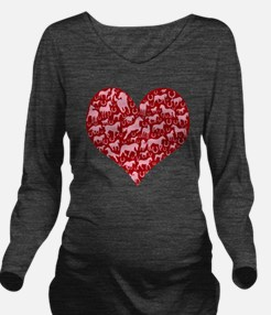 horse heart pink red Long Sleeve Maternity T-Shirt