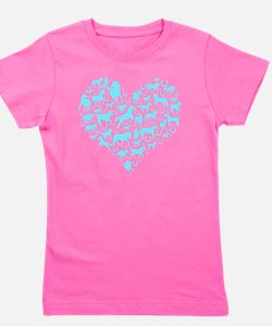 horse heart light blue Girl's Tee