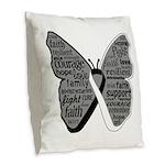 Butterfly Carcinoid Cancer Burlap Throw Pillow