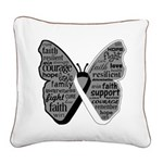 Butterfly Carcinoid Cancer Square Canvas Pillow
