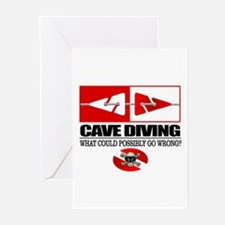 Cave Diving (Line Markers) Greeting Cards