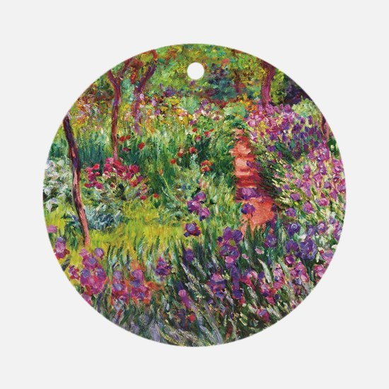 Iris Garden by Monet Round Ornament