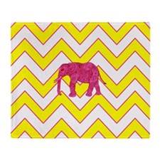Neon Pink Paisley Elephant Yellow Ch Throw Blanket