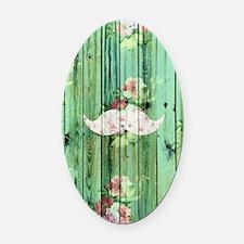 Funny Vintage Floral Mustache Gree Oval Car Magnet