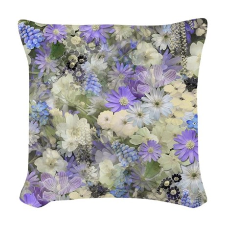 Cream Floral Throw Pillows : Blue And Cream Floral Woven Throw Pillow by GraphicAllusions