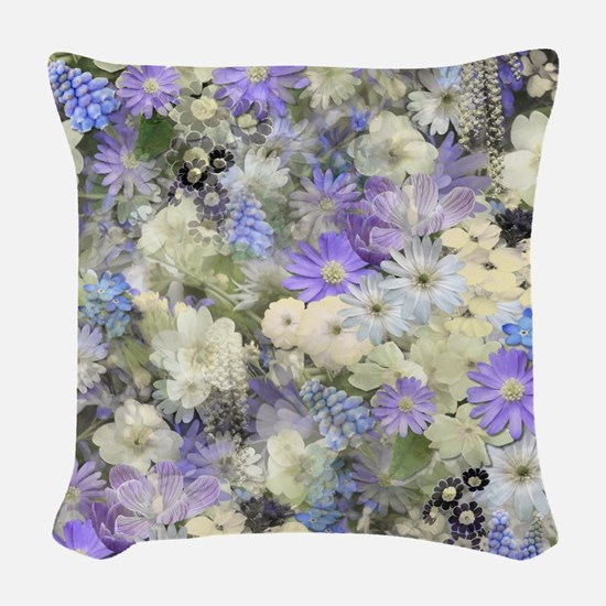 Blue And Cream Floral Woven Throw Pillow