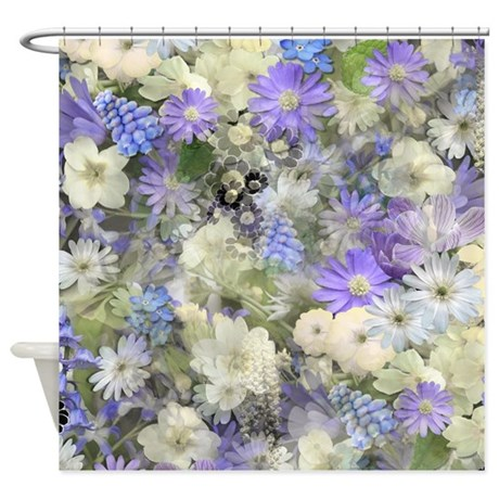 Blue And Cream Floral Shower Curtain By Graphicallusions