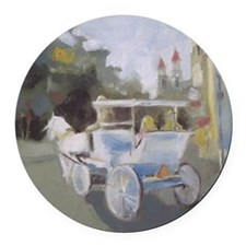Carriage Ride Sightseeing Round Car Magnet