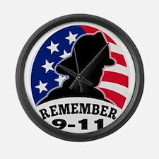 Remember 9-11 fireman firefighter Large Wall Clock
