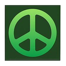 Faded Green Peace Sign Tile Coaster