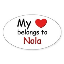 My heart belongs to nola Oval Decal