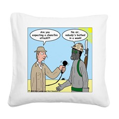 Gas Mask Square Canvas Pillow