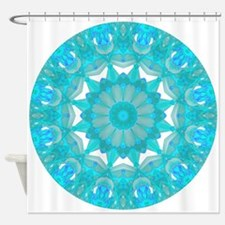 Teal Wheel of Fire Shower Curtain