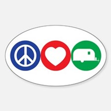 Peace, Love and Vintage Trailers Bumper Stickers