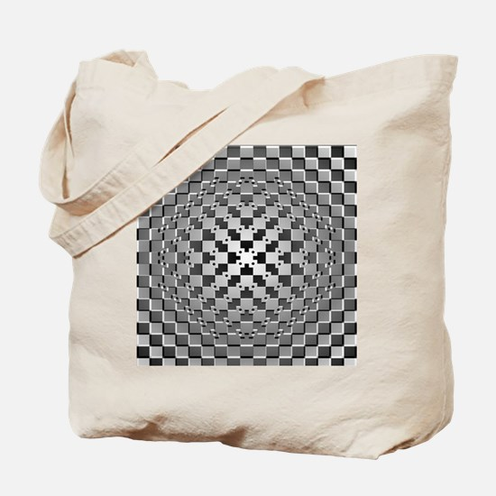 3D Checkered Optical Illusions Tote Bag