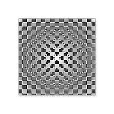 """3D Checkered Optical Illusi Square Sticker 3"""" x 3"""""""