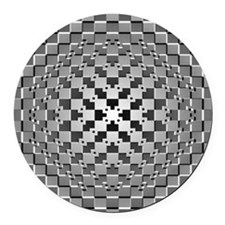 3D Checkered Optical Illusions Round Car Magnet