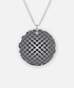3D Checkered Optical Illusio Necklace