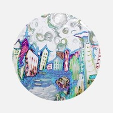 Winter City Van Gogh Round Ornament