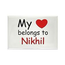 My heart belongs to nikhil Rectangle Magnet