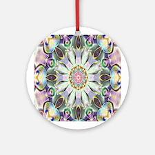 Lilac Kaleidoscope Mandala Round Ornament