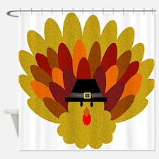 Happy Thanksgiving Turkey Shower Curtain
