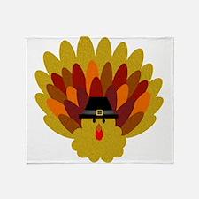 Happy Thanksgiving Turkey Throw Blanket