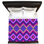 Purple Green Chevron Diamond Pattern King Duvet
