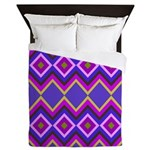 Purple Green Chevron Diamond Pattern Queen Duvet