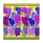Grapes On Vineyard Leaves Tile Coaster