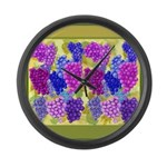Grapes On Vineyard Leaves Large Wall Clock