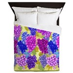 Grapes On Vineyard Leaves Queen Duvet
