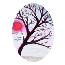 Pink Sunset Tree Silhouette Oval Ornament
