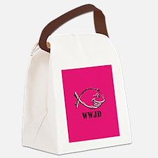 WWJD Fish Canvas Lunch Bag