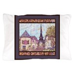 Paris EIffel Tower pointillism landscape Pillow Ca