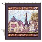 Paris EIffel Tower pointillism landscape Shower Cu