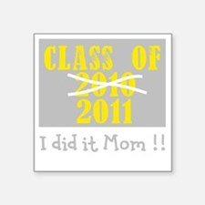 "ClassOf2010-2011 Number2 Bl Square Sticker 3"" x 3"""