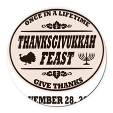 Once in a Lifetime Thanksgivukkah Round Car Magnet