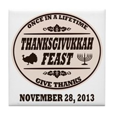 Once in a Lifetime Thanksgivukkah Tile Coaster