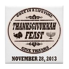 Vintage Once in a Lifetime Thanksgivu Tile Coaster