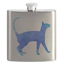 Watercolor cat Flask