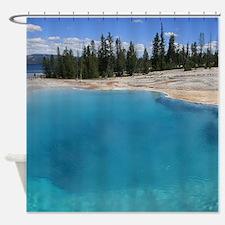 Blue Geyser Pool Shower Curtain