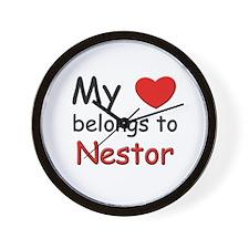 My heart belongs to nestor Wall Clock