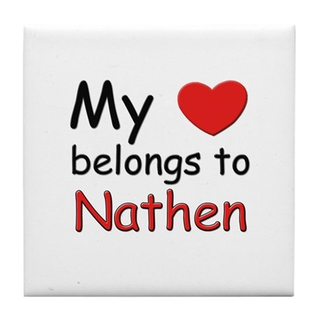 My heart belongs to nathen Tile Coaster