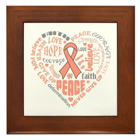 Uterine Cancer Heart Words Framed Tile