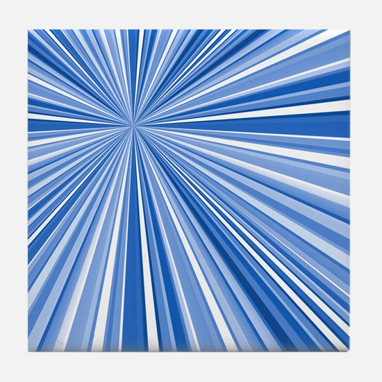 Converging Stripes Blues Tile Coaster