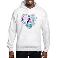 Thyroid Cancer Heart Words Hoodie
