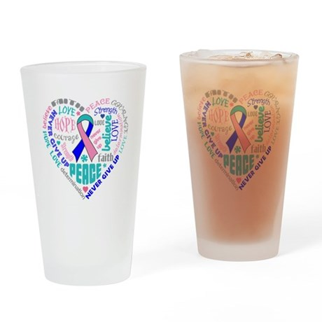 Thyroid Cancer Heart Words Drinking Glass